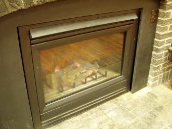 Closeup of fireplace insert.
