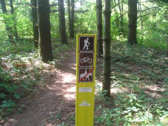 A bike trail marker.