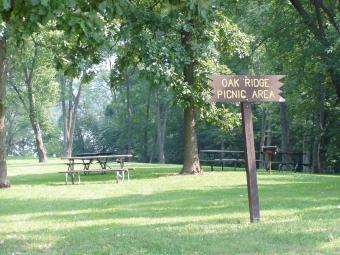 This is the Oak Ridge picnic area surrounded by woods.