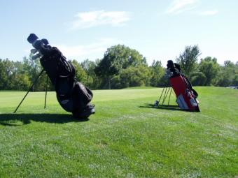 Set of golf bags.