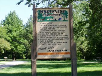 Wilderness Campground welcome sign.