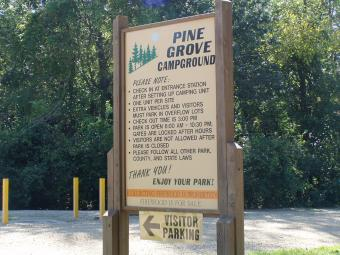 Pine Grove Campground welcome sign.