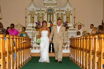 Bride and groom exiting the church.