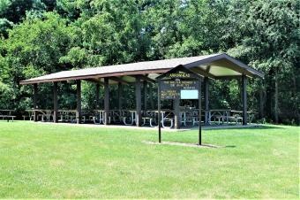 Picnic shelter and playground equipment.