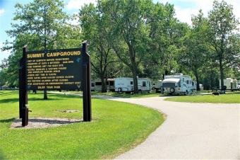 Summit Campground entrance sign.