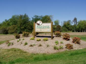 Bald Eagle Campground welcome sign at entrance.