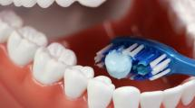 A toothbrush inside false teeth.