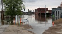 Downtown davenport flood water and buildings