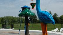 A few of the spray elements in the splash pad.