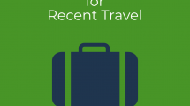 "green graphic with ""New Recommendations for Recent Travel"" and blue suitcase"