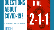 """infographic stating """"questions about covid-19? dial 2-1-1"""