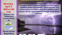 photo of dark clouds and lightening over a lake with program info