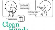 poster showing stick figure covering cough with elbow and washing hands