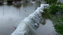 Street flooding with sandbags