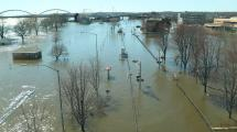 Downtown davenport flooded along the riverfront up to River Drive.