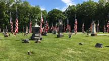 U.S. Flags adorn Allens Grove Cemetery