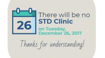 STD Clinic Closed 12-26-2017