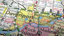 Zoomed in paper map of the Quad Cities area.