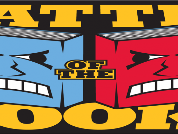 This is a picture of two angry books and it says Battle of the Books.