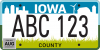 An Iowa license plate.