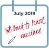 """date book with """"Back to School Immunizations"""" note"""